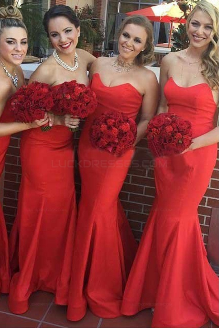 Trumpet/Mermaid Long Red Bridesmaid Dresses 3010003