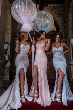 Mermaid Sweetheart Lace Long Bridesmaid Dresses 3010004