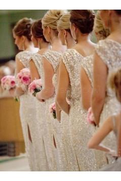 Sheath Sleeveless Sequins Long Bridesmaid Dresses 3010008