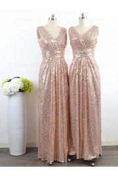 Long Sequins V-Neck Bridesmaid Dresses 3010009