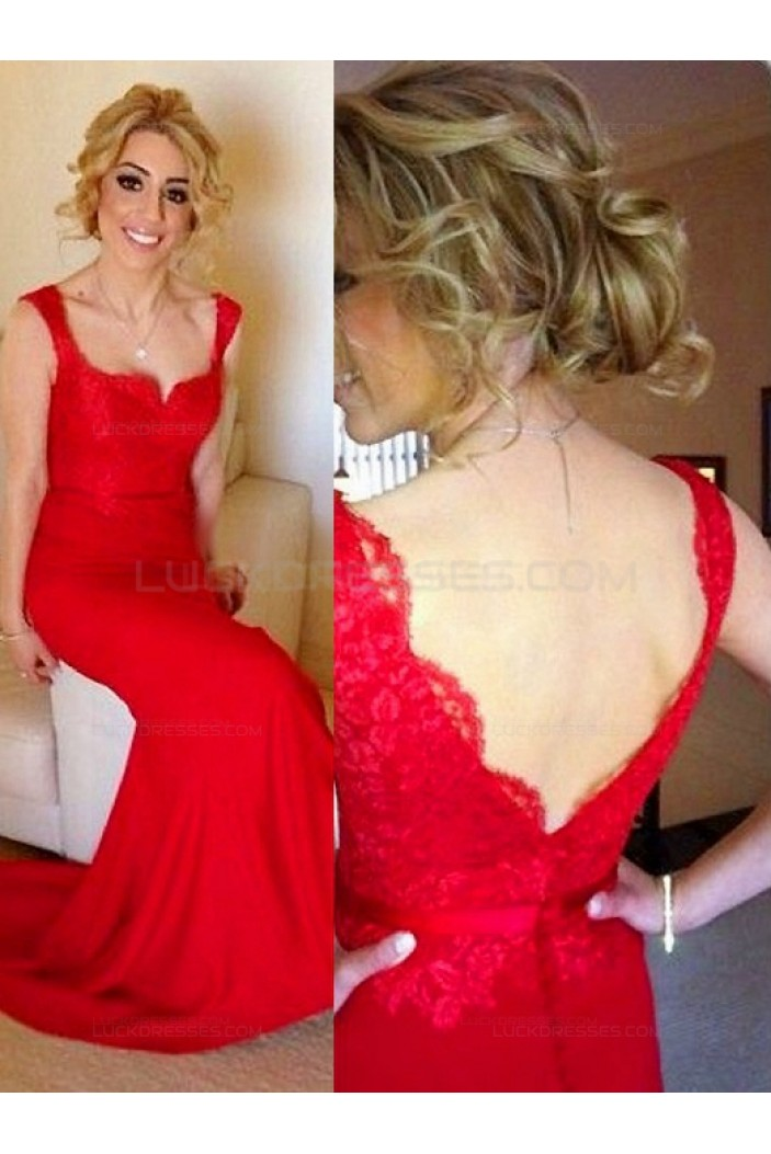 Long Red Straps Lace Evening Prom Bridesmaid Dresses 3010011