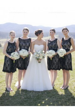 Black Lace Short Keyhole Back Bridesmaid Dresses 3010013