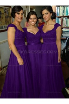 A-Line Cap-Sleeves Lace Chiffon Long Bridesmaid Dresses 3010014