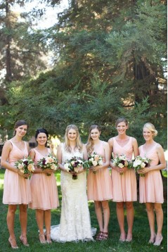 A-Line V-Neck Straps Sleeveless Short Pink Chiffon Bridesmaid Dresses 3010015