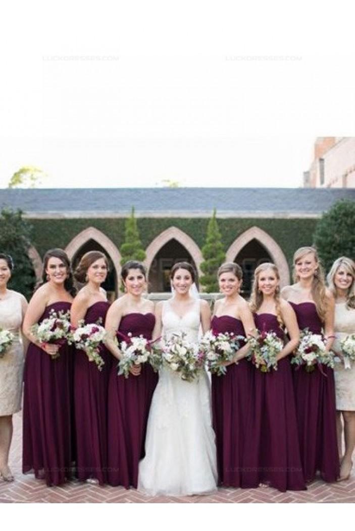 Long Purple Sweetheart Chiffon Floor-Length Bridesmaid Dresses 3010016
