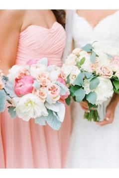 Short Pink Chiffon Country Bridesmaid Dresses 3010017