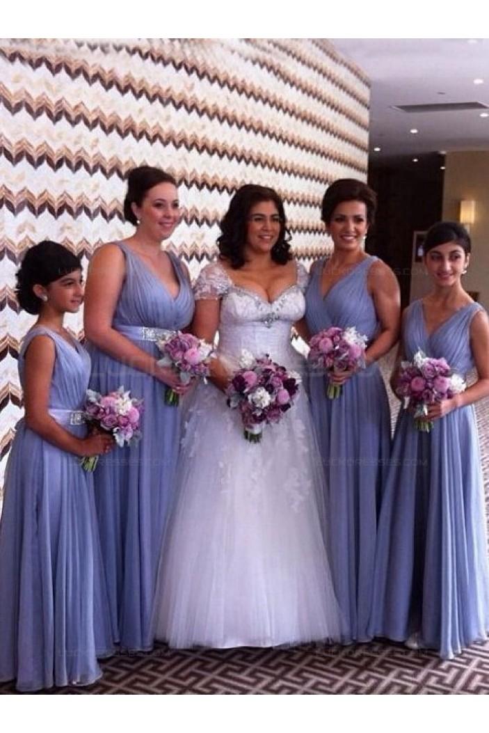 A-Line V-Neck Straps Sleeveless Long Bridesmaid Dresses 3010018