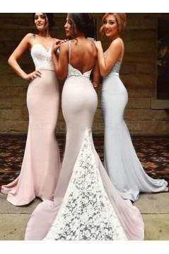 Trumpet/Mermaid Spaghetti Straps Lace Long Bridesmaid Dresses 3010021