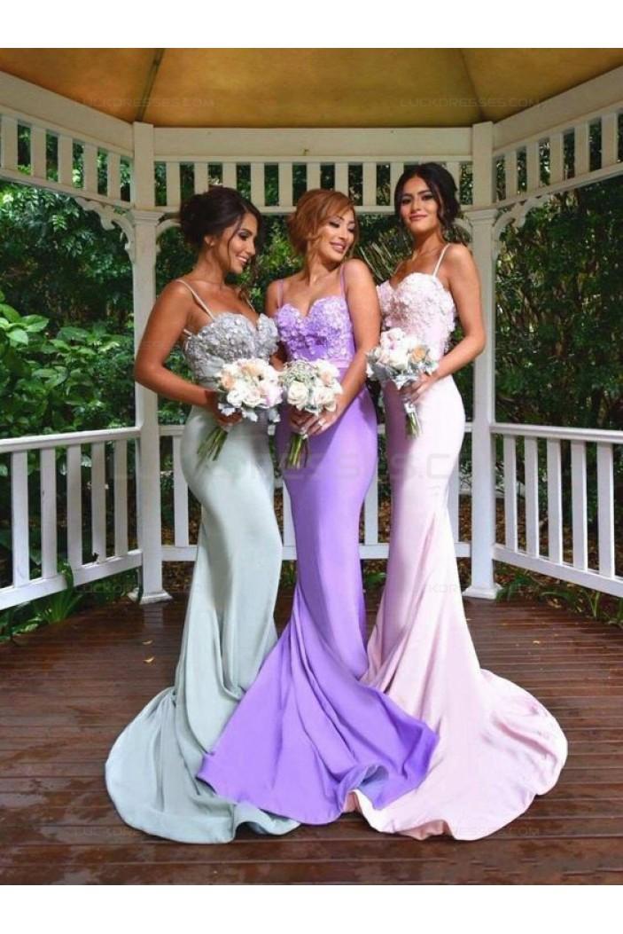 Trumpet/Mermaid Spaghetti Straps Long Bridesmaid Dresses 3010023