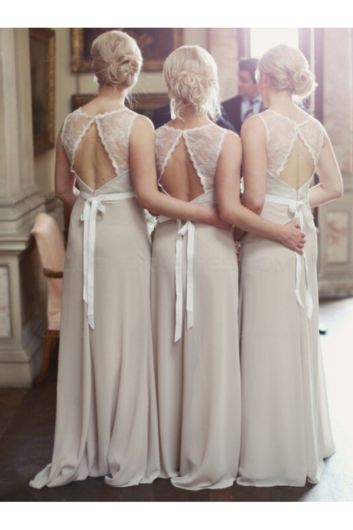 Lace Chiffon Long Wedding Party Dresses Bridesmaid Dresses 3010025