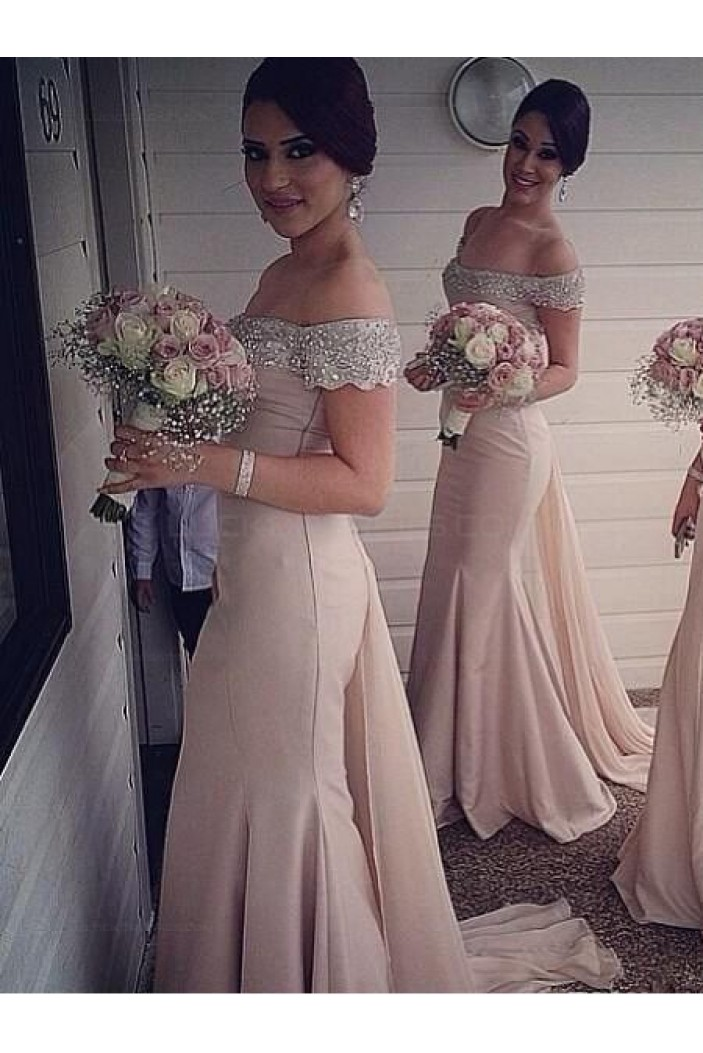 Trumpet/Mermaid Off-the-Shoulder Beaded Long Bridesmaid Dresses 3010027