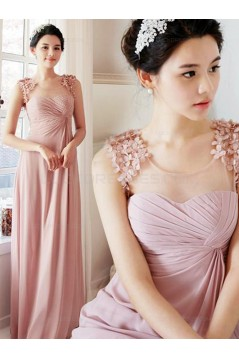 Long Pink Floor-Length Chiffon Wedding Party Dresses Bridesmaid Dresses 3010029
