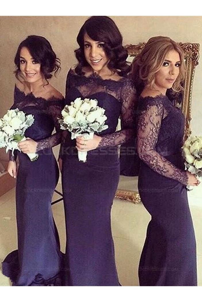 Long Sleeves Purple Lace Mermaid Wedding Party Dresses Bridesmaid Dresses 3010034