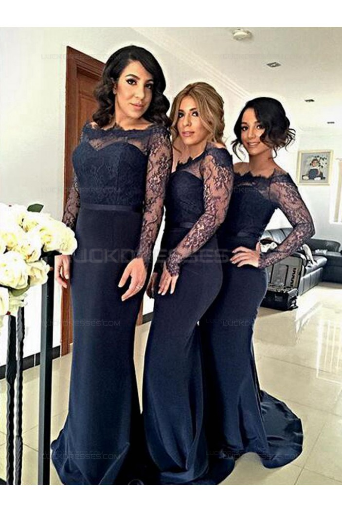 Long Sleeves Navy Blue Lace Mermaid Wedding Party Dresses Bridesmaid Dresses 3010035