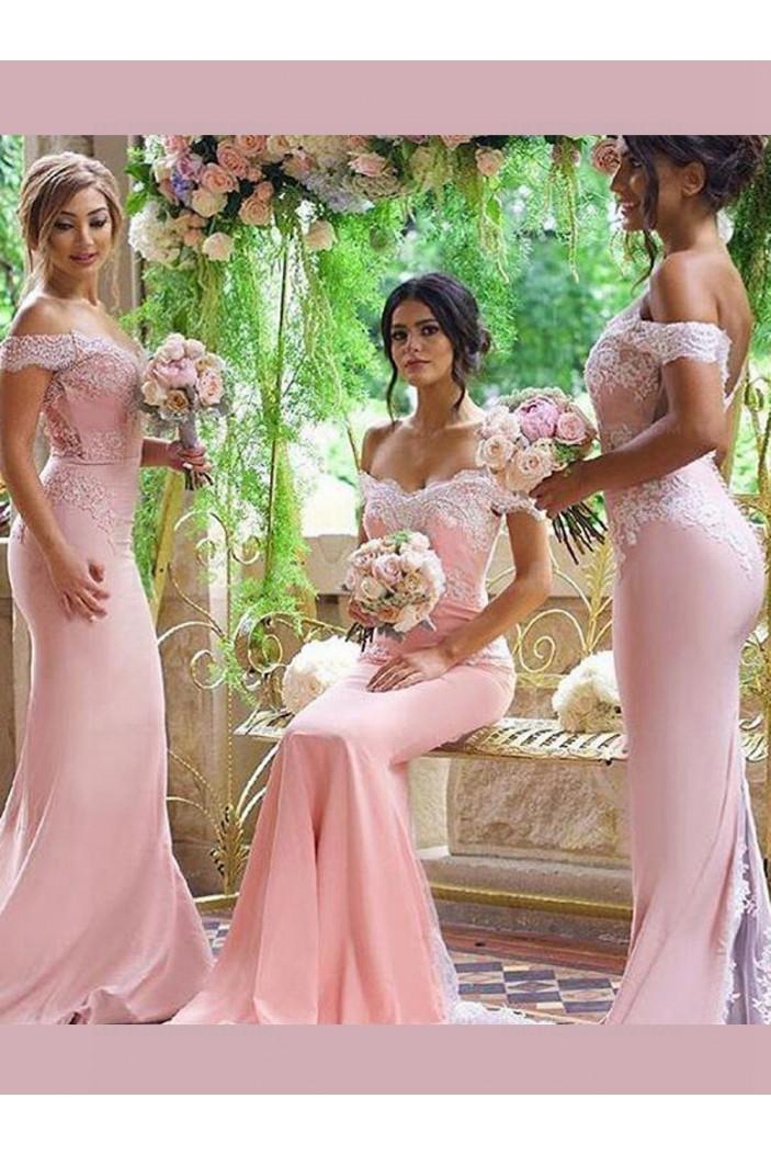 Trumpet/Mermaid Off-the-Shoulder Lace Long Pink Wedding Party Dresses Bridesmaid Dresses 3010042