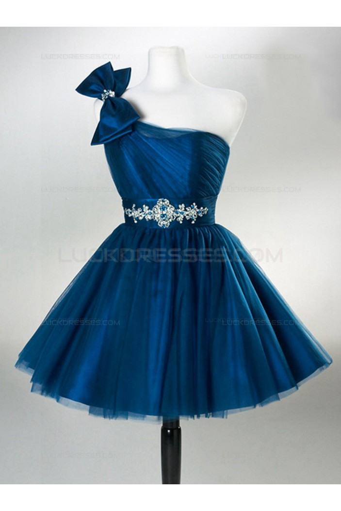 A-Line One-Shoulder Short Blue Wedding Party Dresses Bridesmaid Dresses 3010046