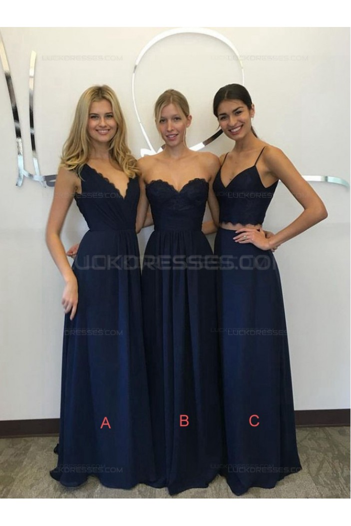Long Navy Blue Lace Chiffon Floor-Length Wedding Party Dresses Bridesmaid Dresses 3010048