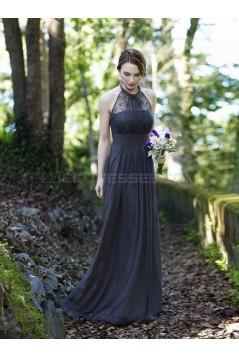 Column Halter Chiffon Lace Floor-Length Wedding Party Dresses Bridesmaid Dresses 3010049