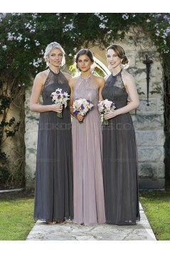 Column Halter Chiffon Lace Floor-Length Wedding Party Dresses Bridesmaid Dresses 3010049