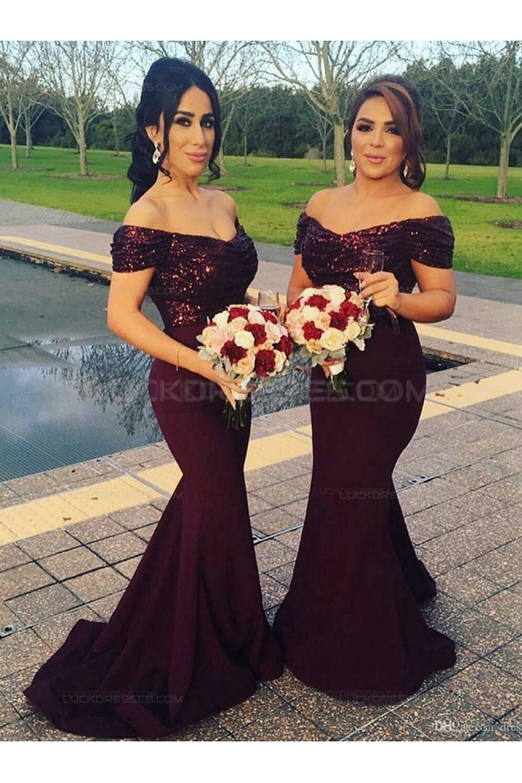 Trumpet Mermaid Off The Shoulder Sequins Long Purple Wedding Party Dresses Bridesmaid Dresses 3010050