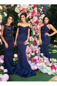 Trumpet/Mermaid Long Blue Lace Wedding Party Dresses Bridesmaid Dresses 3010051