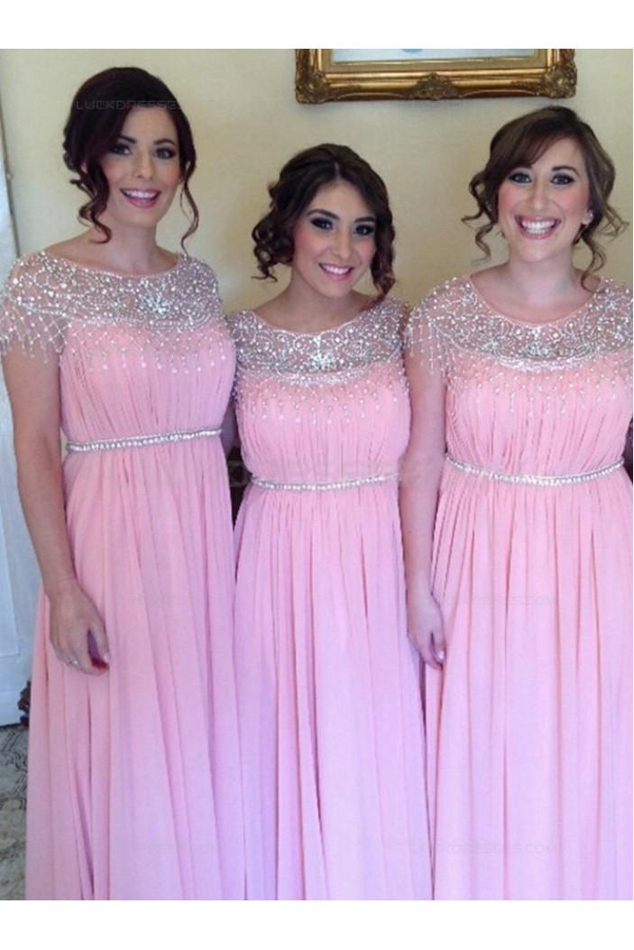 Long Pink Beaded Chiffon Wedding Party Dresses Bridesmaid Dresses 3010054