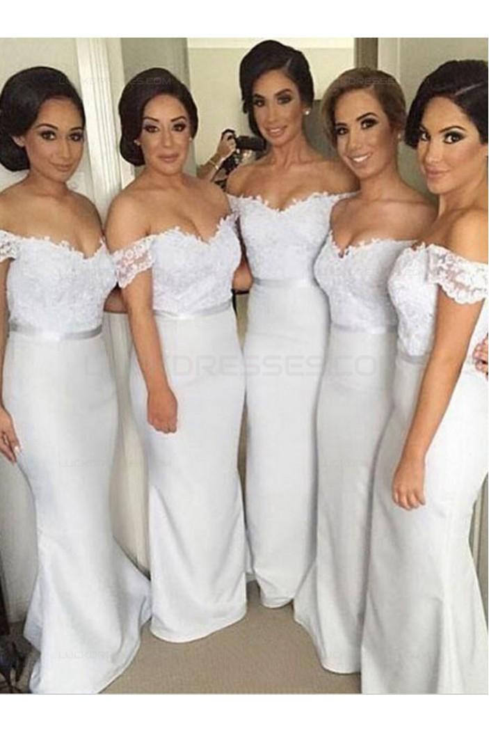 Trumpet/Mermaid Off-the-Shoulder Lace Long Wedding Party Dresses Bridesmaid Dresses 3010056