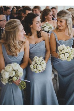 Sheath One-Shoulder Long Chiffon Wedding Party Dresses Bridesmaid Dresses 3010059