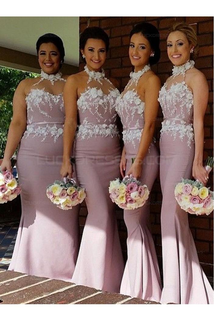Trumpet/Mermaid Halter Lace Long Wedding Party Dresses Bridesmaid Dresses 3010060