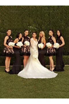 A-Line Halter Short Black Lace Knee-Length Wedding Party Dresses Bridesmaid Dresses 3010062