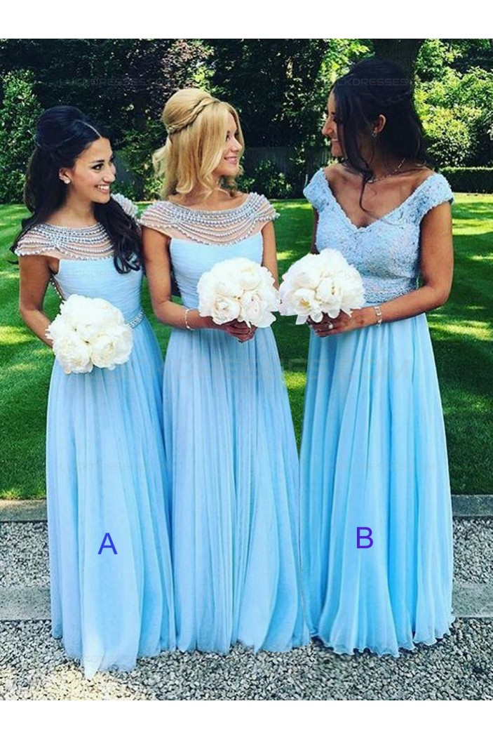 Long Blue Beaded Chiffon Floor-Length Wedding Party Dresses Bridesmaid Dresses 3010063