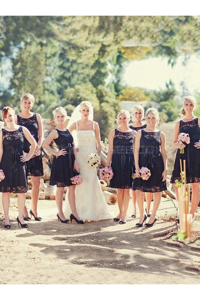 Short Black Lace Wedding Party Dresses Bridesmaid Dresses 3010065