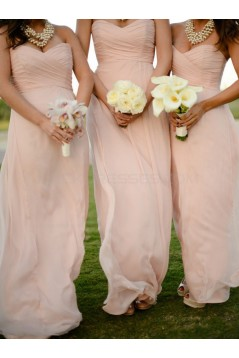 Empire Sweetheart Long Pink Chiffon Wedding Party Dresses Bridesmaid Dresses 3010067