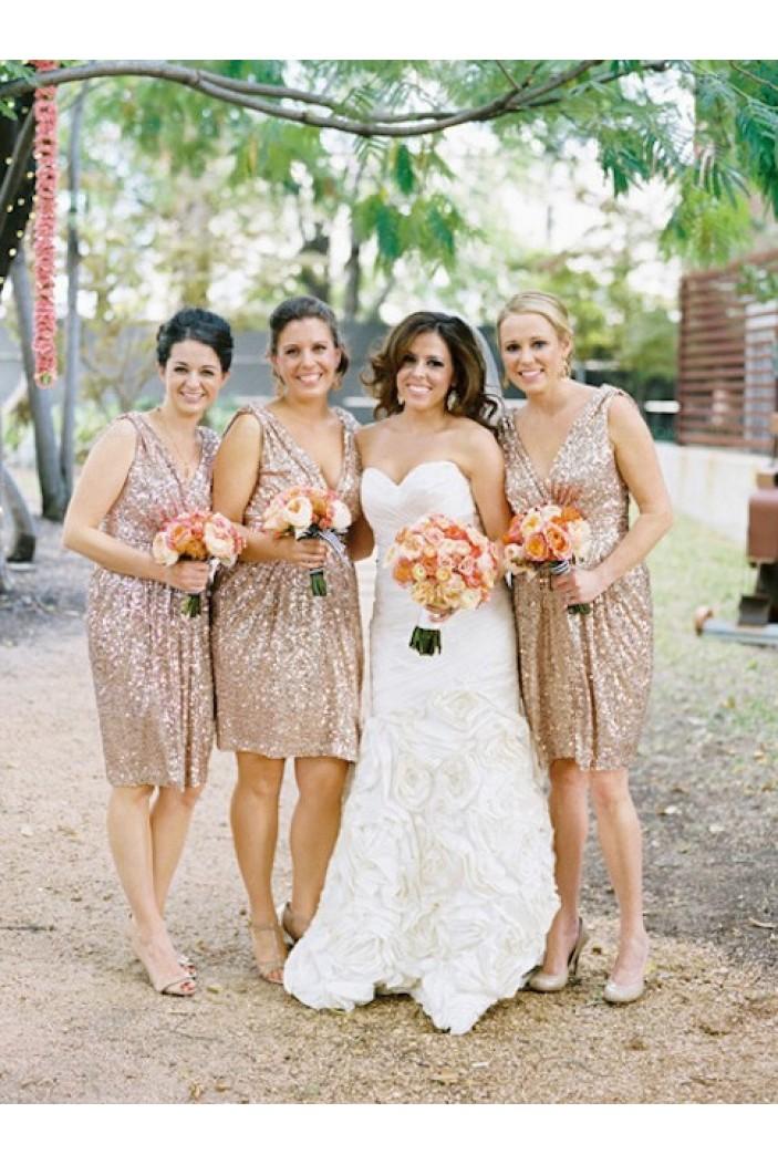 Short V-Neck Sequins Straps Sleeveless Wedding Party Dresses Bridesmaid Dresses 3010068
