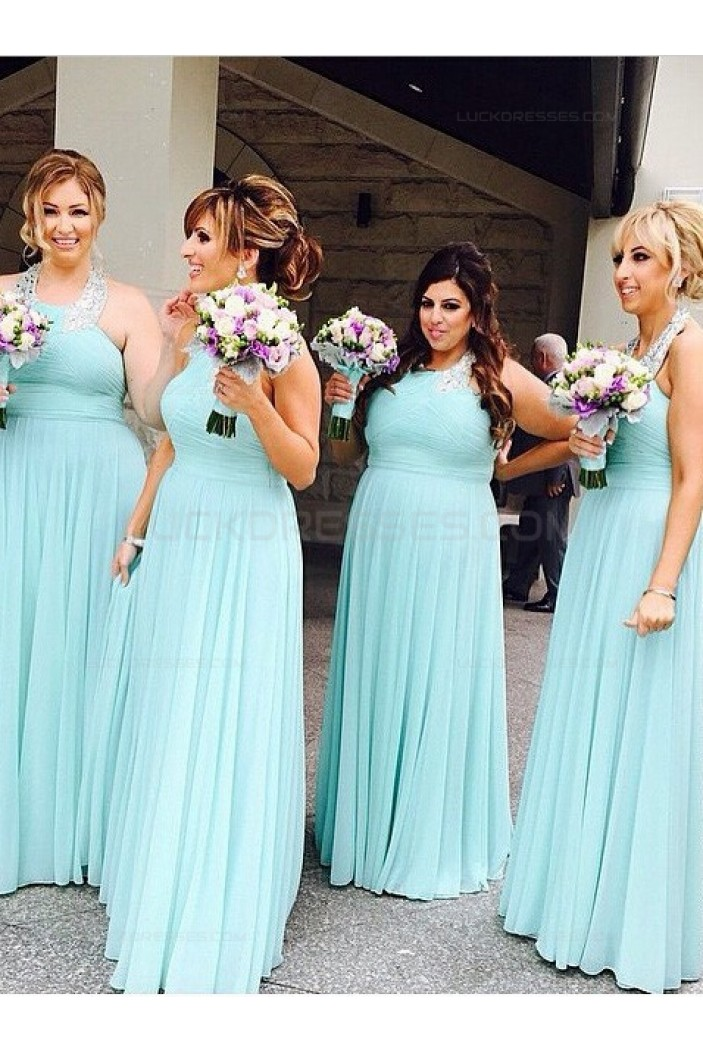 Long Halter Beaded Floor-Length Wedding Party Dresses Bridesmaid Dresses 3010070