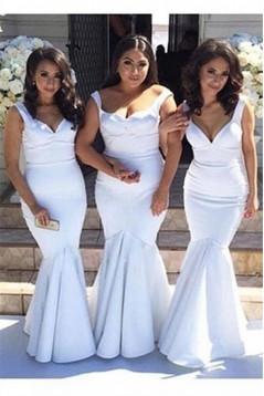 Trumpet/Mermaid Straps Sleeves Long White Wedding Party Dresses Bridesmaid Dresses 3010071
