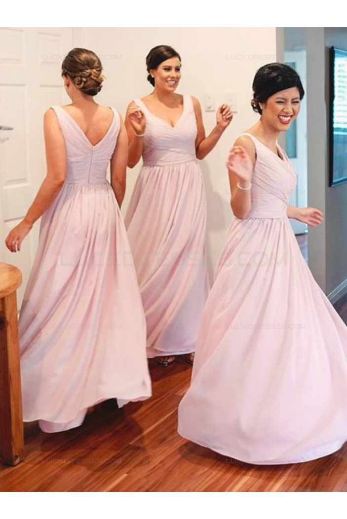 A-Line V-Neck Straps Long Pink Wedding Party Dresses Bridesmaid Dresses 3010073