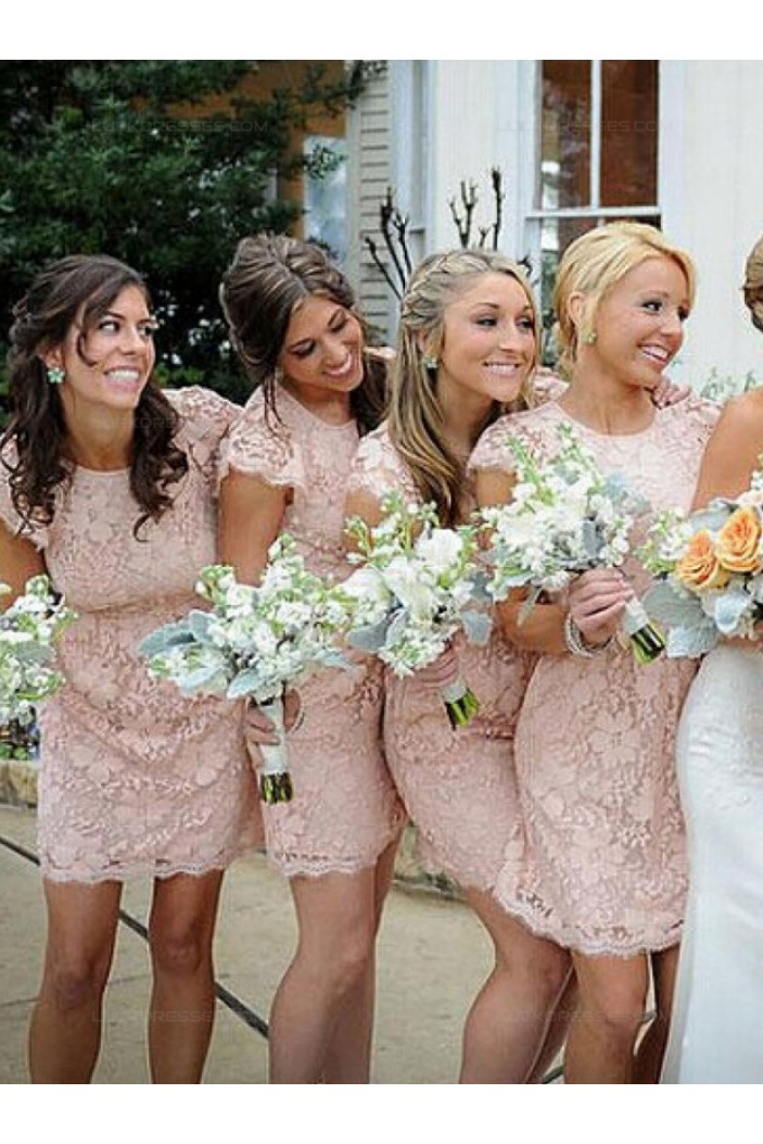 Short Lace Cap-Sleeves Lace Wedding Party Dresses Bridesmaid Dresses 3010074