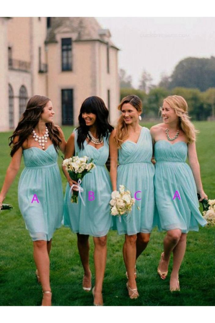 Empire Short Blue Chiffon Wedding Party Dresses Bridesmaid Dresses 3010076