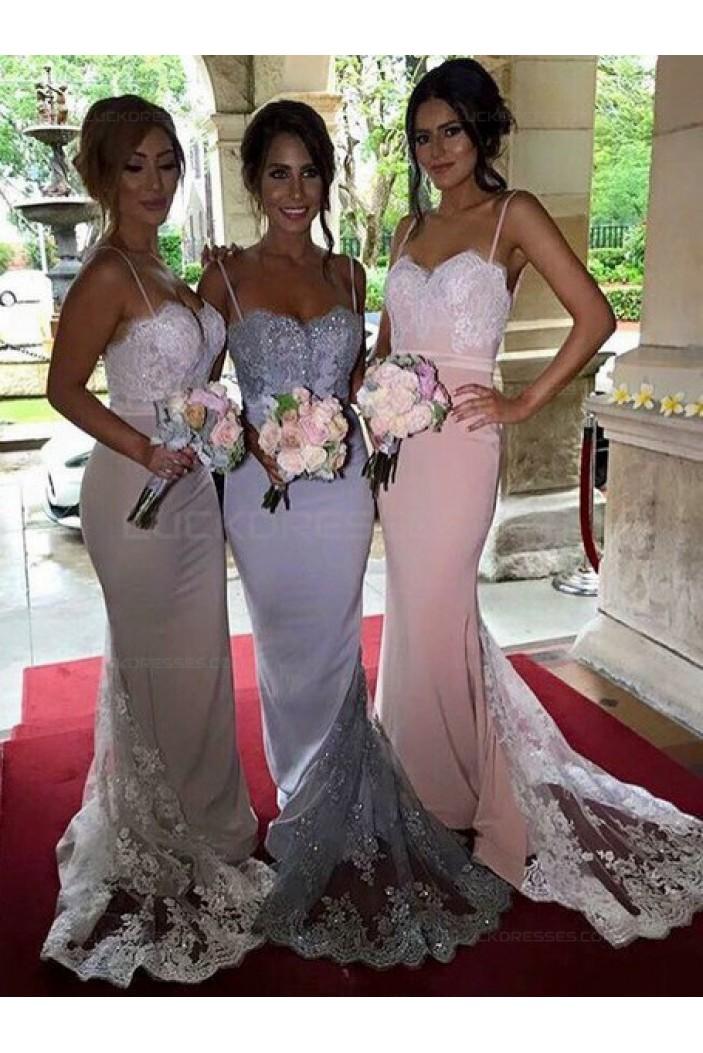 Trumpet/Mermaid Spaghetti Straps Lace Wedding Party Dresses Bridesmaid Dresses 3010079