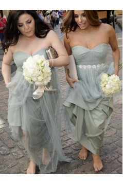 Empire Sweetheart Long Tulle Wedding Party Dresses Bridesmaid Dresses 3010081
