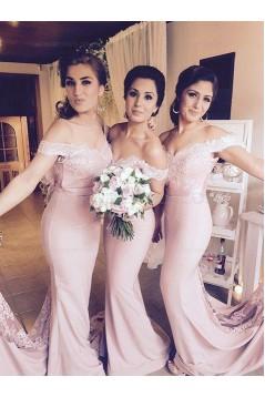 Trumpet/Mermaid Off-the-Shoulder Lace Wedding Party Dresses Bridesmaid Dresses 3010083