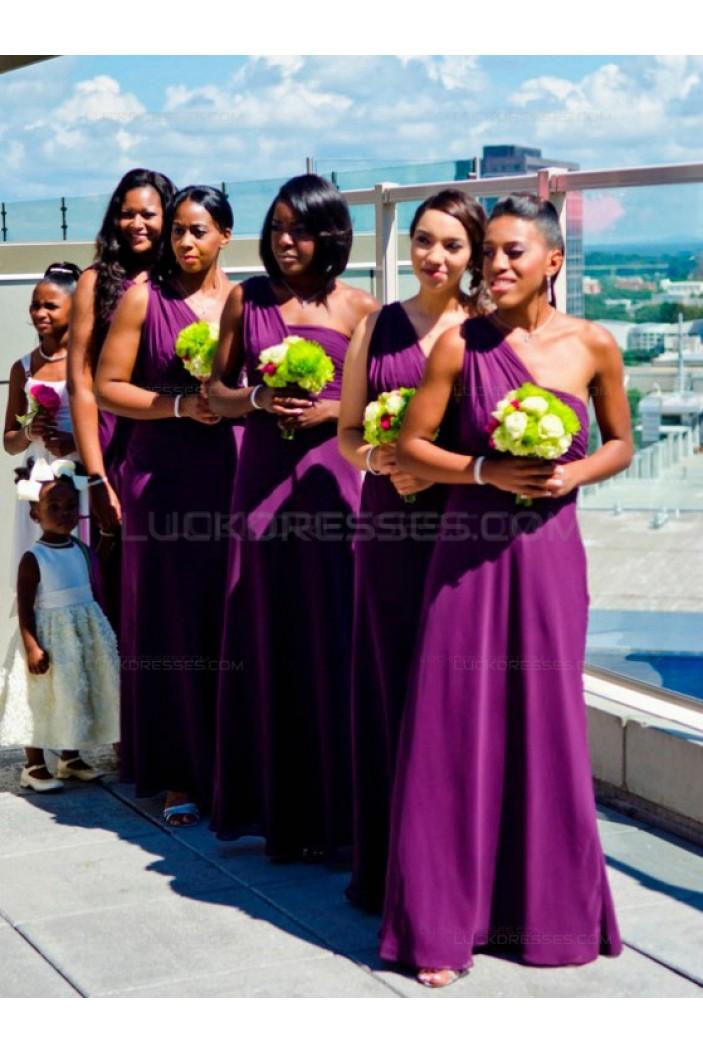 Long Purple Chiffon One-Shoulder Wedding Party Dresses Bridesmaid Dresses 3010086