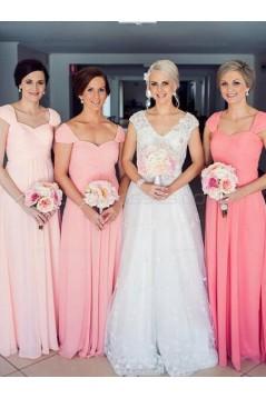 Cap-Sleeves Long Chiffon Wedding Party Dresses Bridesmaid Dresses 3010087