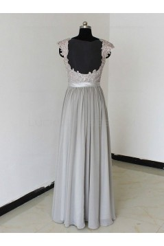 Floor-Length Cap-Sleeves Chiffon Lace Backless Wedding Party Dresses Bridesmaid Dresses 3010090