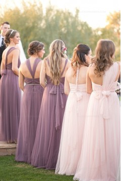 Empire Sweetheart Tulle Long Wedding Party Dresses Bridesmaid Dresses 3010091