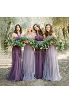 Long Purple Tulle Wedding Party Dresses Bridesmaid Dresses 3010096