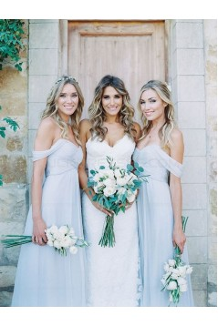 A Line Ruched Chiffon Pale Light Blue Bridesmaid Gowns Off the Shoulder Sweetheart Neckline Floor Length 3010098
