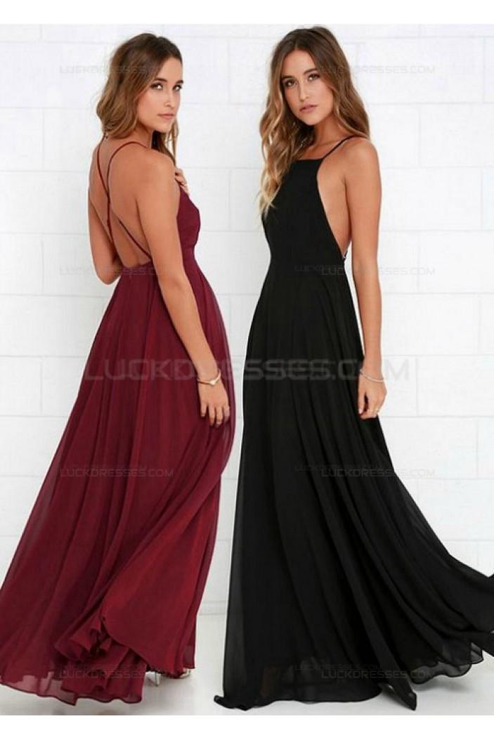 Spaghetti Straps Criss Cross Back Chiffon Long Wedding Guest Dresses Bridesmaid Dresses 3010106