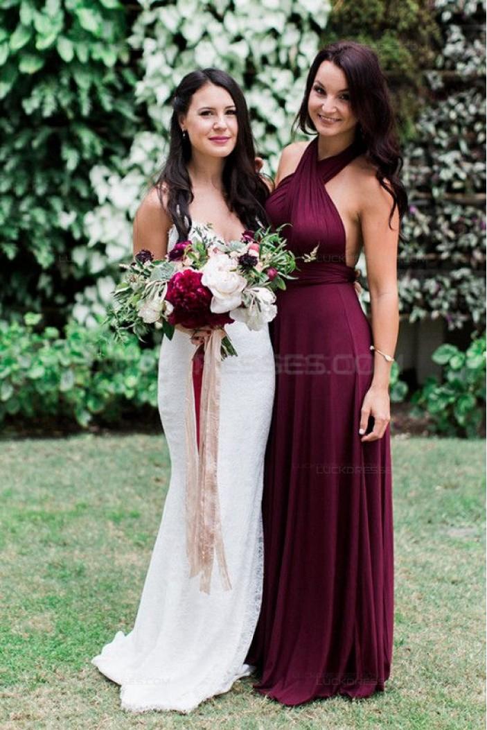 Criss Cross Halter Purple Long Chiffon Garden Farm Wedding Party Dresses Bridesmaid Dresses 3010108